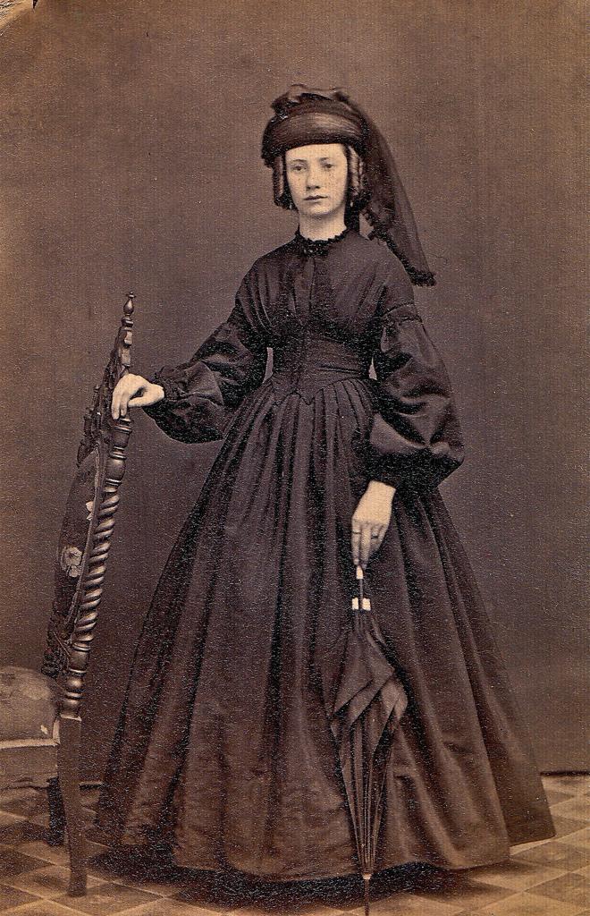 Miss Maggie Webber in Mourning, Albumen Carte de Visite with Tax Stamp, 1864-1866